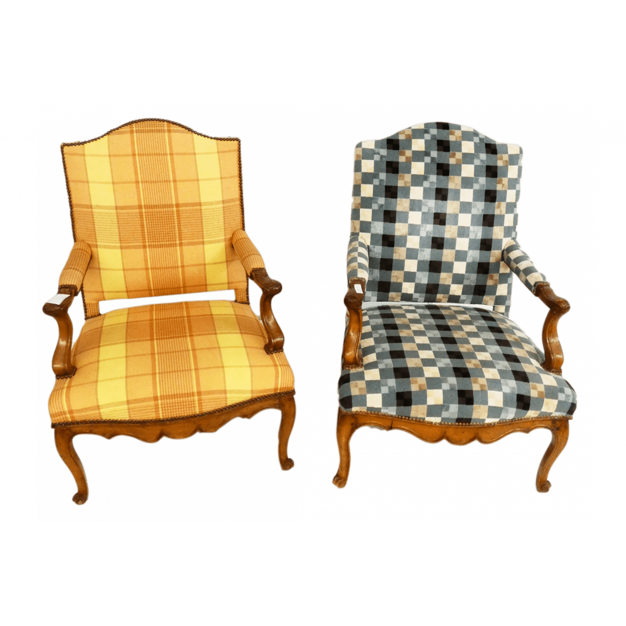 Pair of 18th Century Upholstered Armchairs with Different Patterns