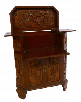 Asian Bar Cabinet in Carved...