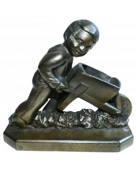 Statuette Child Wheelbarrow
