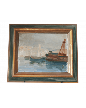 Oil on Cardboard View of Port