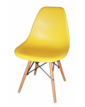 4 Yellow Molded Chairs