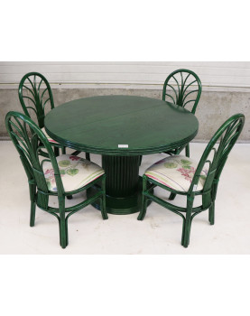 Set Rattan Table + 4 Chairs...